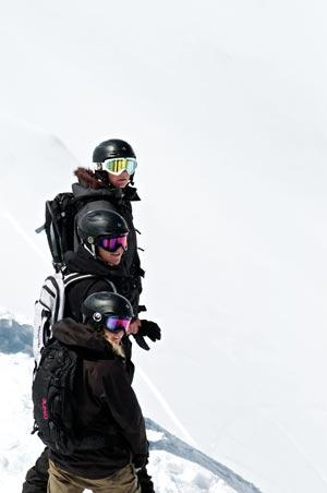 3 bankes family snowbaording